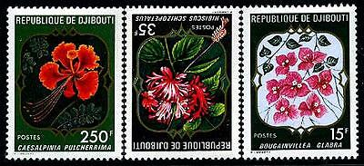 DJIBOUTI Sc.# 477-79 Flowers Mint NH Stamps