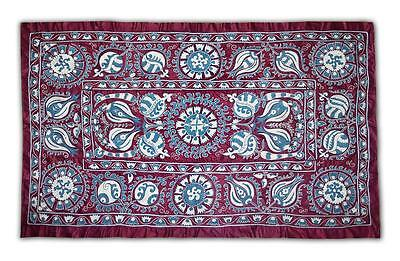 Stunning Large Uzbek Ottoman Silk Handmade Embroidery Suzani With Tulips M442