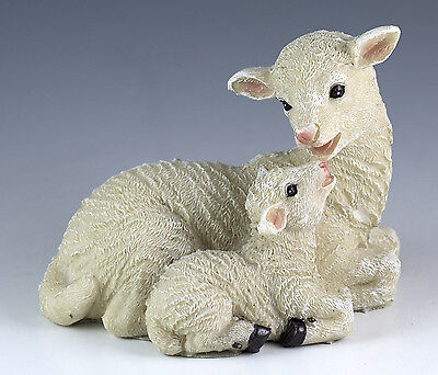 Sheep Ewe With Lamb Figurine 4 Inch Long Resin Highly Detailed New In Box