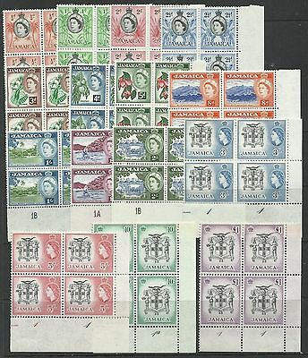 JAMAICA 1956-58 Set to £1 (missing 6d) in handsome plate blocks of 4, mint, hing