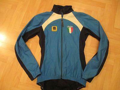 Italia Sportful Italy cycling wind stopper blue zipped jersey top adult size