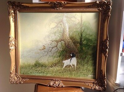 Terrier, Woodland Scene, Large Oil Painting On Canvas, Framed,