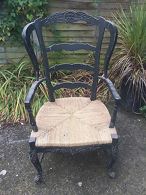 Throne Style Carved Louis Wooden Chair Wicker