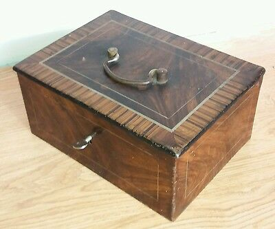 Antique Metal Strong Box, Safety Deposit Box, Lockable Metal Box Burr Walnut Box