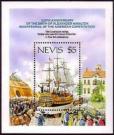 NEVIS Sc.# 537 Sailship NH Stamp S/S