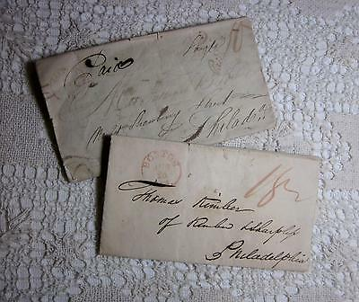 2 Old Stampless Letters Easton 1807! + Philadelphia PA 1820 Rare River Travel++