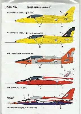 S&M Decals SM48-001 HS (Folland) Gnat decals in 1:48 Scale