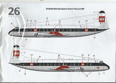 TwoSix Decals 4406 Vickers Viscount 800 BEA Red Square decals in 1:144 Scale