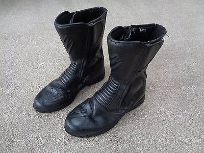 Frank Thomas Motorcycle Boots size 12. Mens Black Leather Motorbike Armoured