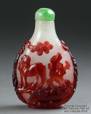 Chinese Peking Glass Snuff Bottle, Red Overlay Horses in Landscape, 18/19th C.