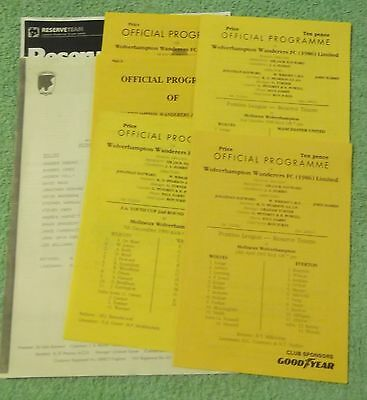 7 Wolves Wolverhampton Wanderers Reserve Youth Home Programmes / Team Sheets