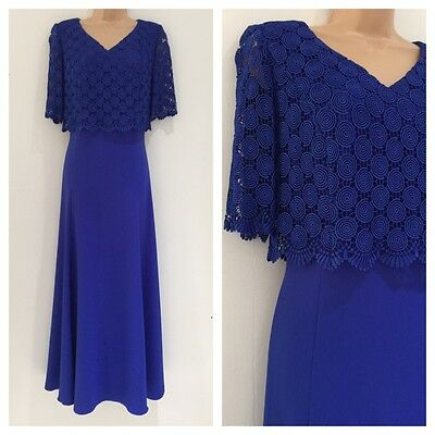 Vintage 80's Royal Blue Lace Overlay Bodice Xmas Party Occasion Evening Dress 14