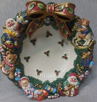 Fitz & Floyd Santa's Magic Workshop Christmas Candy / Serving Bowl  j083