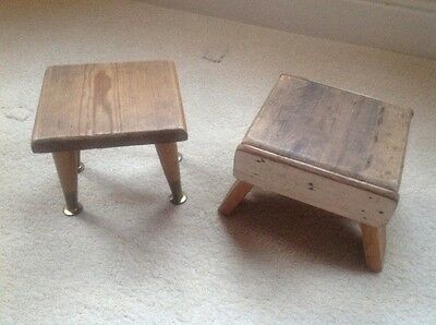 2 Handmade Antique Vintage Wooden Footstool Stools 1930's Shabby chic Retro