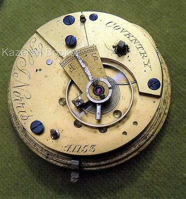 Antique Fob Pocket Watch Movement H J Norris Coventry
