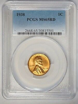 1938 1C Lincoln Cent Wheat Penny PCGS MS65RD Red