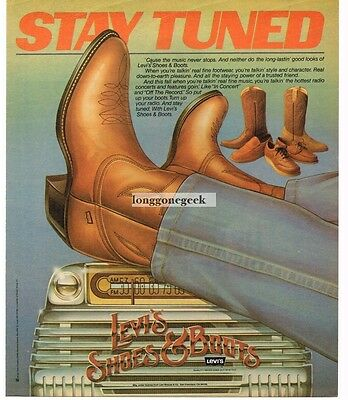 1981 LEVI'S Shoes and Boots art old radio Vtg Print Ad