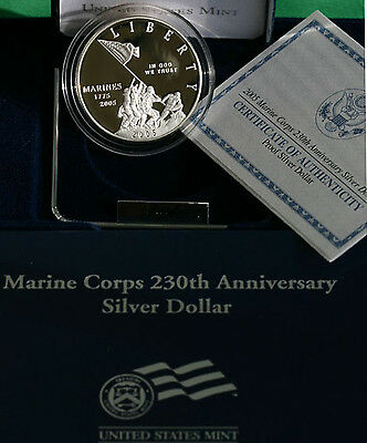 2005 Marine Corps 230th Anniversary PROOF US Mint 90% Silver Dollar Coin Box COA