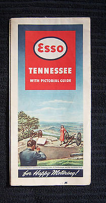 Vintage Tennesse Map with Pictorial Guide by ESSO Gasoline