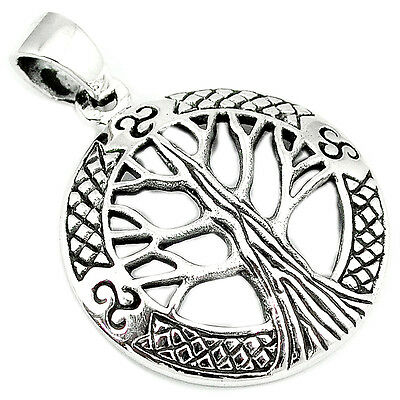 925 Sterling Silver Circle In Tree Of Life Pendant Jewelry A13418