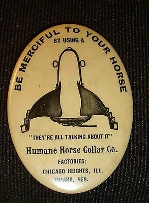 Old Oval Adv.Mirror-Humane Horse Collar Co.Chicago Heights,ILL-Authentic!