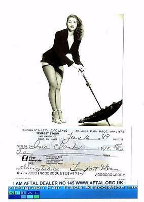 Tempest Storm vintage signed Bank Cheque / Check Burlesque Star AFTAL