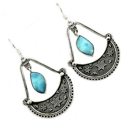 Natural Blue Larimar Slice 925 Sterling Silver Dangle Earrings Jewelry H84429