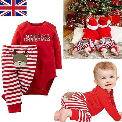 Christmas Newborn Baby Girls Boys Tops Romper + Long Pants Outfits Clothes UKA9