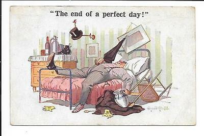 """Donald McGill: Saucy Seaside P/card, """"The end of a perfect day.....""""."""