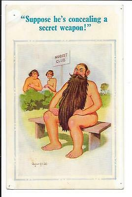 """Donald McGill: Saucy Seaside P/card, """"Suppose he's concealing a ........""""."""
