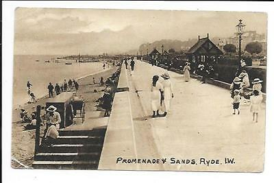 Old postcard, Isle of Wight: 'Promenade & Sands, Ryde, I.W.'