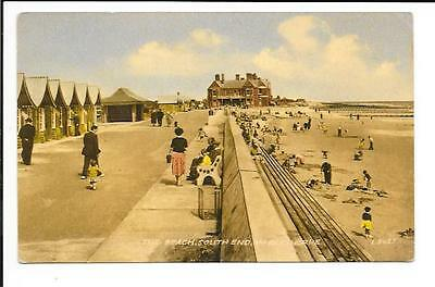 Old postcard, Lincs: 'The Beach, South End, Mablethorpe'. Unmailed.