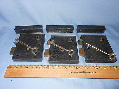 VINTAGE DOOR LOCK / LATCH & SKELETON KEY LOT. (Three sets)