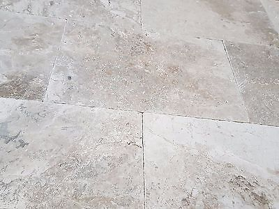 Sample of Cathedral Antique Light Grey Limestone Tumbled  Tiles 406x610x12mm