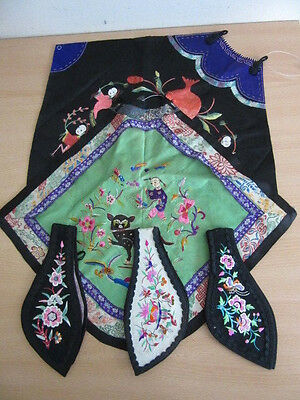 5pc estate lot vintage Chinese Silk embroidered pieces