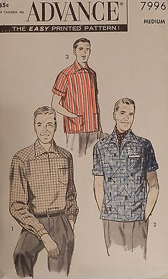 Vtg 1950s Advance 7996 Mens Casual Sports Shirt Sewing PATTERN 38-40 Chest