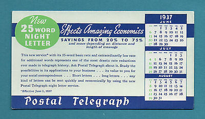 "POSTAL TELEGRAPH CO Unused Blotter -  3""x6"", 1937, ""25 Word Night Letter"", Exc"