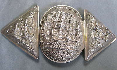 Fabulous Very Large Antique 2 Piece Silver Belt Buckle Eastern Deity