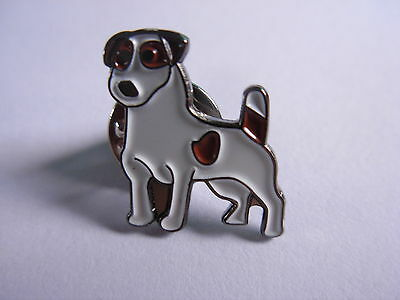 Jack russell Terrier dog pin badge. White with brown spots