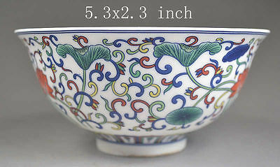 Old Collectibles chinese Handwork Porcelain Painted Flower Bowl Mark Qianlong