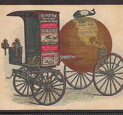 1800s Soapine Parade Delivery Wagon Globe Whale Victorian Advertising Trade Card