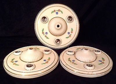 "3 Matching 10"" PORCELIER 1930's Bath or Bedroom 3 Bulb Porcelain Light Fixtures"