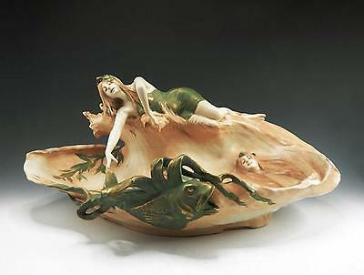 LARGE RStK IMPERIAL AMPHORA ART NOUVEAU MAIDENS JELLYFISH WAVE CENTERPIECE 1900