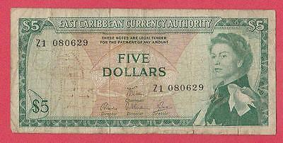 1965 East Caribbean States 5 Dollar Replacement Note