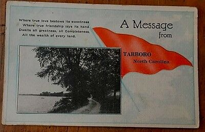 A Message From Tarboro North Carolina Photo Postcard With Pennant & Poem