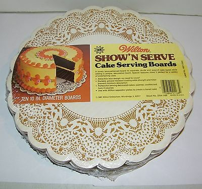 """Vintage 1981 Wilton Round Show n Serve Cake Serving Boards Lace Ten 10"""" NEW"""