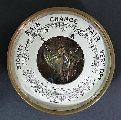 Antique  Aneroid Barometer Brass Case For Repairs or Parts