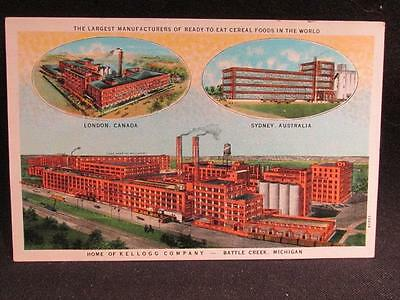 Kellogg Company Vintage Full Color Illustrated Postcard of 3 Cereal Plants