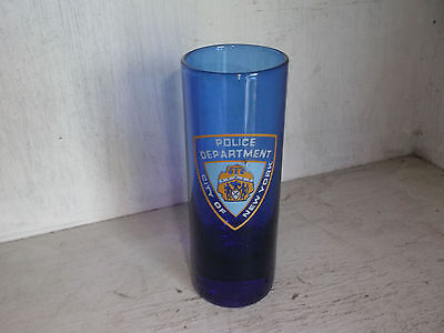 Cobalt Blue Police Department City of New York Tall Shot Glass