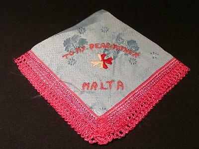 Malta To My Dear Mother Beautiful WWI Era Pale Blue Silk Embroidered Hankie
